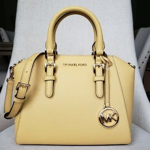 NWT Michael Kors MD Ciara Satchel bag daisy yellow
